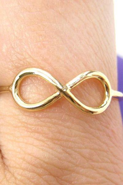 Simple Infinity Loop Outline Promise Friendship Ring in Gold