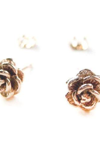 Small Textured Light Gold Rose Floral Stud Earrings