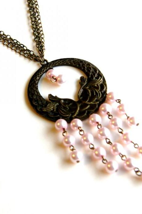 Light Pink Pearl and Brass Medallion Necklace