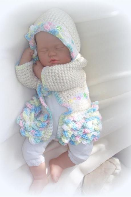 Baby girl Sweater Coat and bonnet
