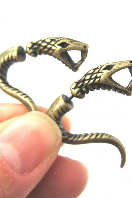 Fake Gauge Realistic Snake Cobra Animal 3D Plug Stud Earrings in Bronze