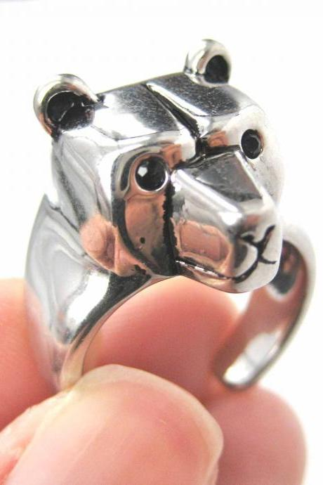 3D Adjustable Polar Bear Teddy Animal Wrap Around Hug Ring in SHINY Silver