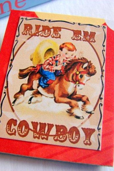 Boy Riding a Pony - Ride Em Cowboy - Paper and Chipboard Collage Decoupage Pin Brooch Badge - Retro Vintage
