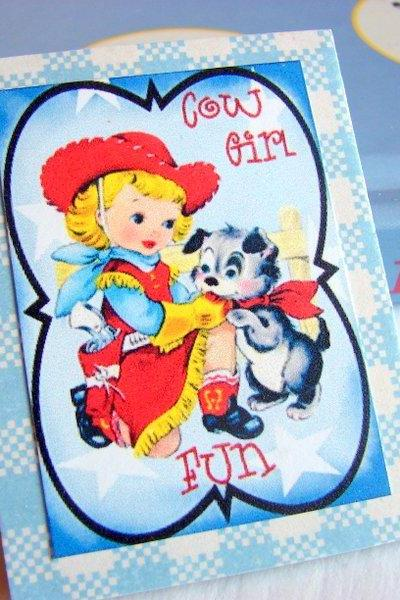 Western Girl And Her Puppy Dog - Cowgirl Fun - Paper and Chipboard Collage Decoupage Pin Brooch Badge - Retro Vintage