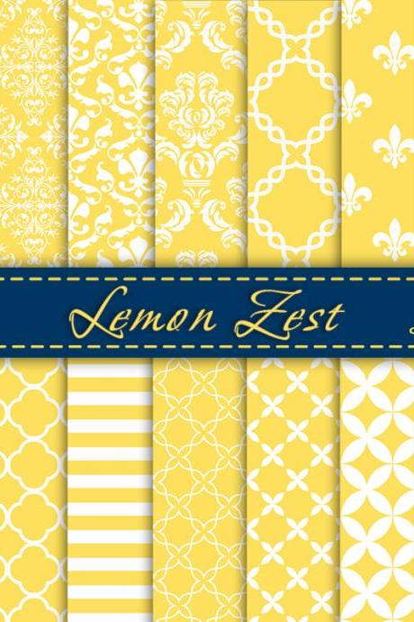 Lemon Zest Digital Scrapbook Paper, Digital Paper Pack, Summer 2013 pantone, Scrapbooking Paper, Damask