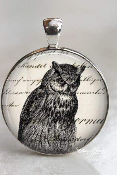 owl print vintage illustrations glass necklace or keychain