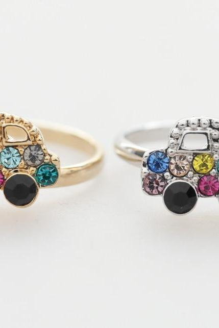 Colorful Crystals car adjustable ring in silver