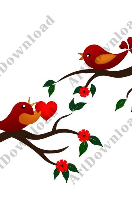 Red Love Birds - Digital Clip Art, Digital Scrapbooking, Clip art birds