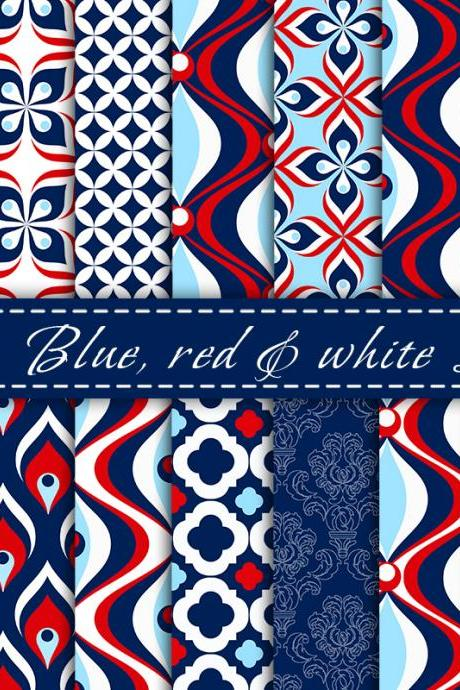 Blue Red and White Digital Paper Digital Scrapbooking Paper Pack Printable Backgrounds