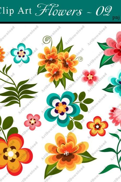 Digital Clip Art Flowers - Clip Art Flowers, Digital Paper Flowers, Printable Flowers for Personal & Commercial Use