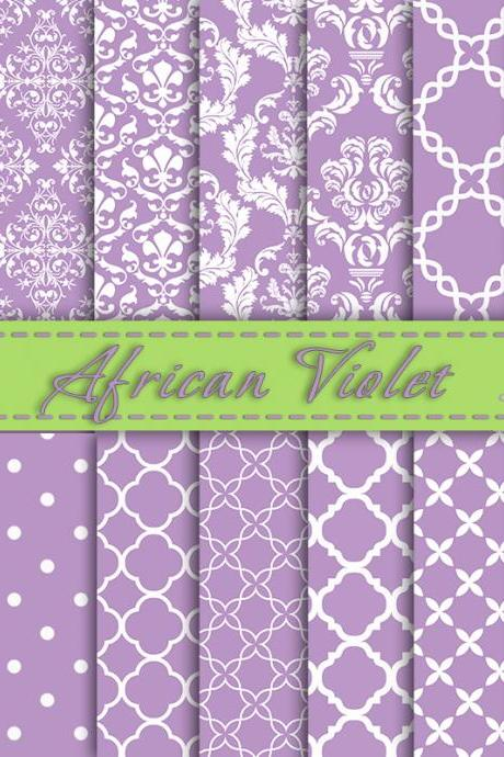 African Violet Digital Paper, Trendy Colors, Scrapbooking Paper, Digital Background