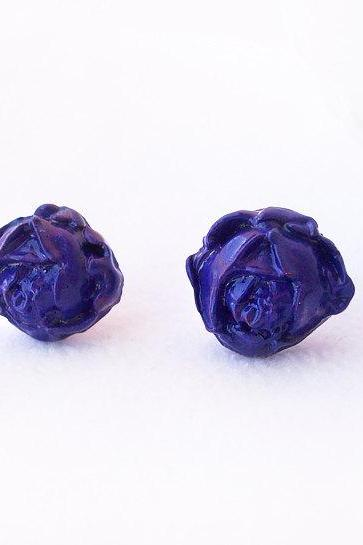 On sale - Purple Rose Stud Earrings, Polymer Clay, Handmade, Nickel Free, with GIFT BOX