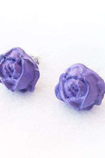 On sale - Lilac Rose Stud Earrings, Polymer Clay, Lavender, Handmade, Nickel Free, with GIFT BOX