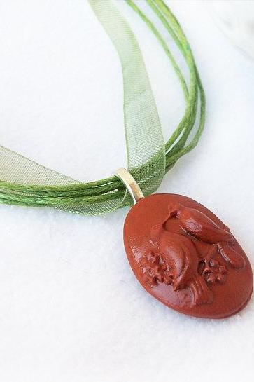 Love Bird Necklace, Polymer Clay, Terracotta, Brown, Green, Love, Nature