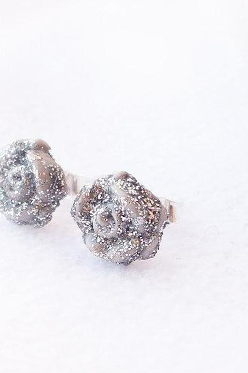 On sale - Silver Glitter Rose Stud Earrings, Polymer Clay, Handmade, Nickel Free, with GIFT BOX