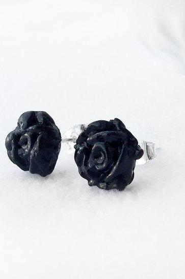 On sale - Black Rose Stud Earrings, Polymer Clay, Handmade, Nickel Free, with GIFT BOX