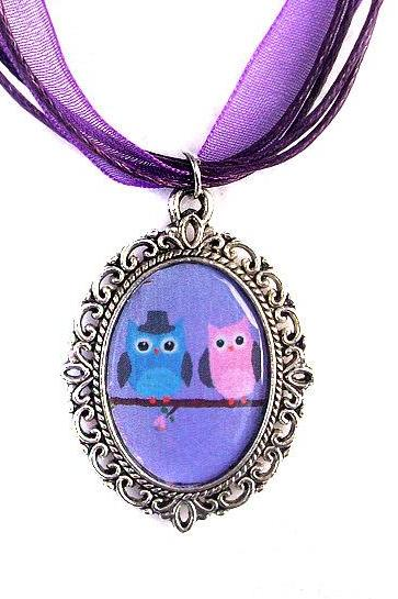 Love Owls Necklace, Cameo, Silver Plated, Owl Couple Pendant, Purple Organza, Love Gift