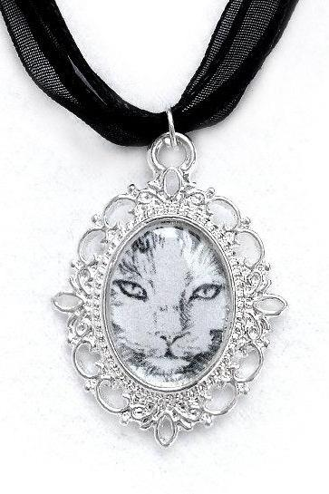 Cat Cameo Necklace, Silver Plated, Cat Pendant, Black Organza, Love Gift