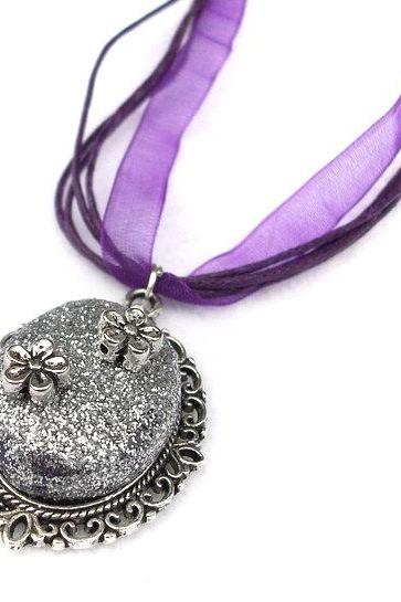 Glitter Cameo Necklace, Sparkly Pendant, Silver Plated, Purple Organza