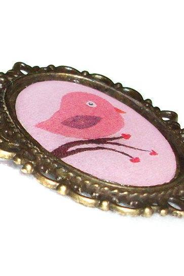 Love Bird Pin Brooch, Photo Pendant, Resin, Bronze Tone, Wedding, Love Gift