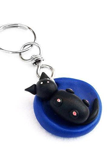 Polymer Clay Cat Key Chain, Baby Cat Miniature, Clay Cat Sculpture, Cat Figurine, Puppy Kennel