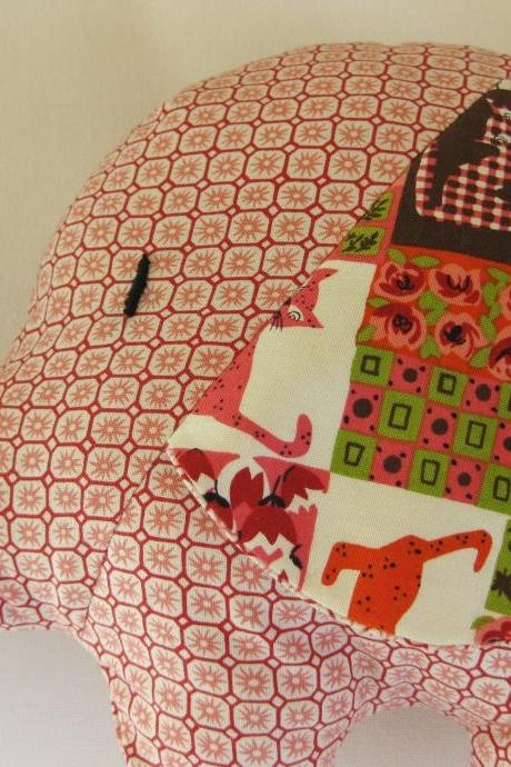 Personalised Soft toy - elephant cushion - handmade with designer fabric by Alexander Henry - in light red/pink tones