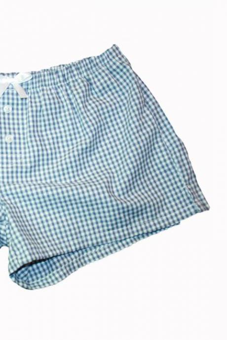 Boxers for Women Pin Stripe / Gingham - S/M Sleep Shorts