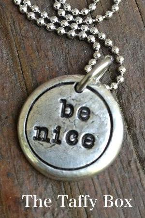 Be Nice - pewter pebble droplet pendant necklace