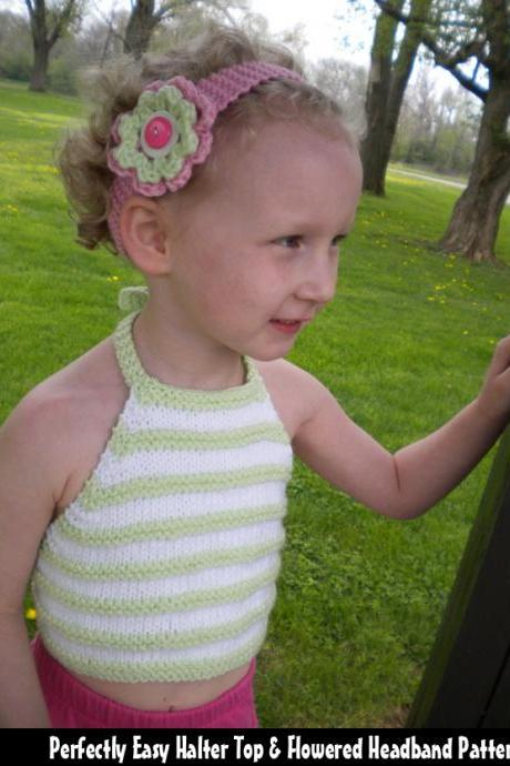 Perfectly Easy Halter Top & Flowered Headband Pattern