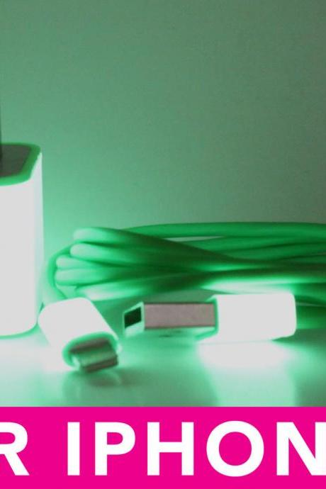 Glow in the Dark iPhone 5 Charger - 3-in-1 Glow in the Dark Green iPhone Charger - iPad Mini Charger - iPod Charger
