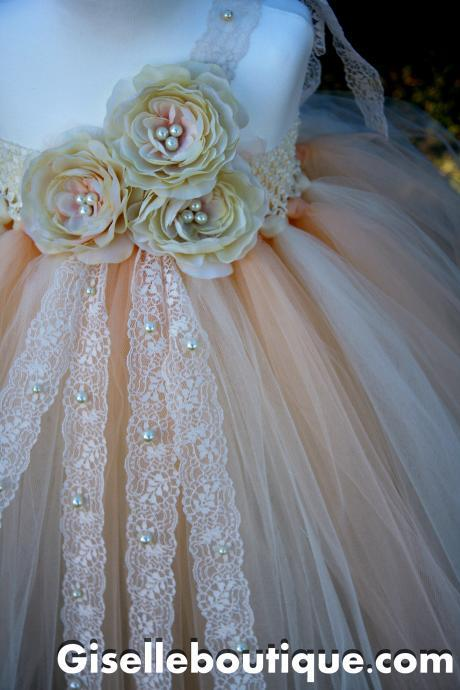 Flower Girl TuTu Dress.Ivory Vintage Lace with Pearls TuTu Dress.Wedding . Birthday