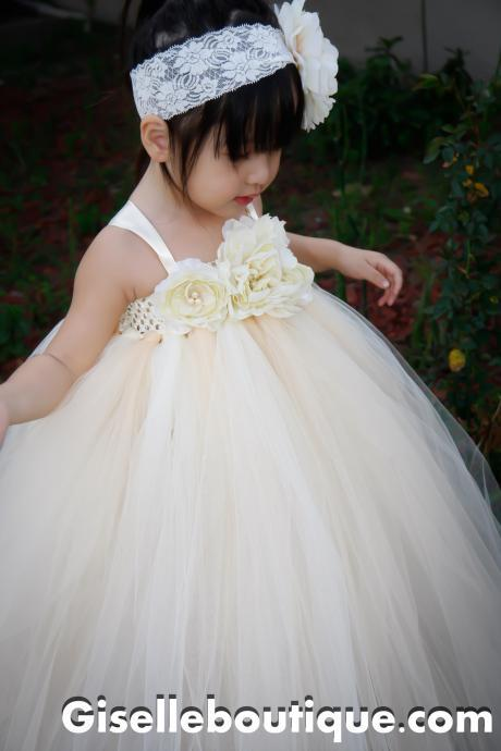 Flower girl dress Ivory Vintage with Pearls TuTu Dress, baby tutu dress, toddler tutu dress, wedding, birthday, Newborn, 2t,3t,4t,5t