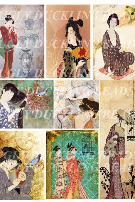 Ladies of Old Japan Digital Collage Sheet - Original Art Work- Clip Art Elements- Digital Scrapbooking