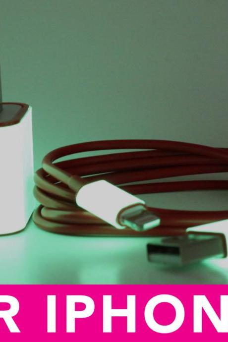 Glow in the Dark iPhone 5 Charger - 2-in-1 Glow in the Dark Red iPhone Charger - iPad Mini Charger - iPod Charger