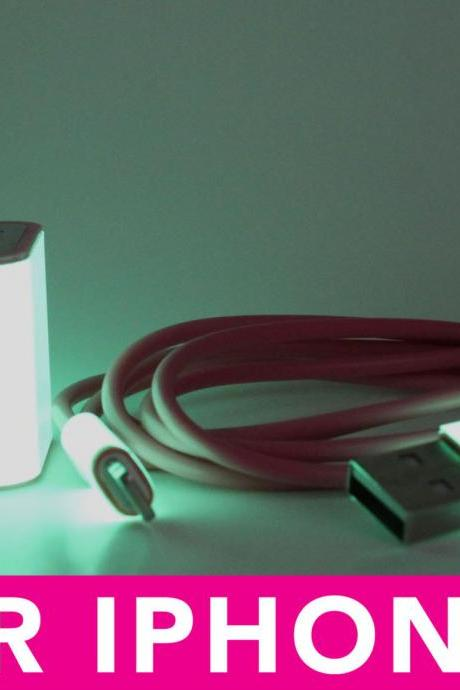 Glow in the Dark iPhone 5 Charger - 2-in-1 Glow in the Dark Pink iPhone Charger - iPad Mini Charger - iPod Charger