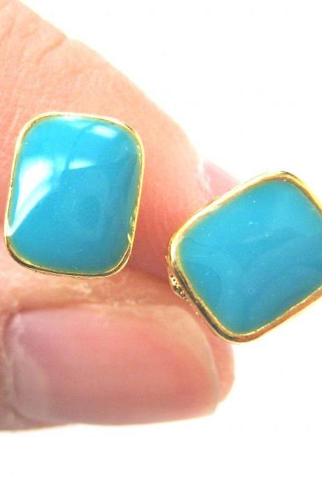 Small Turquoise Blue on Gold Rectangular Stud Earrings Simple and Cute