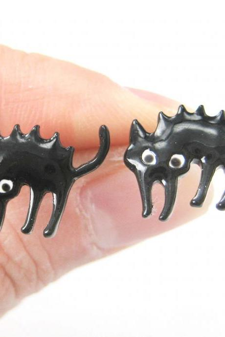 Emily Strange Scaredy Cat Kitten Kitty Cat Animal Stud Earrings in Black