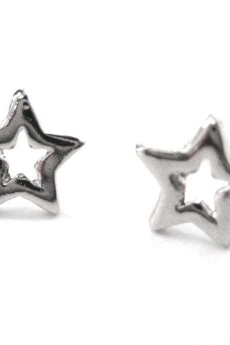 Simple Small Star Shaped Night Sky Stud Earrings in Silver