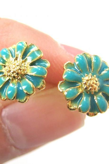Daisy Sunflower Small Floral Flower Stud Earrings in Turquoise on Gold