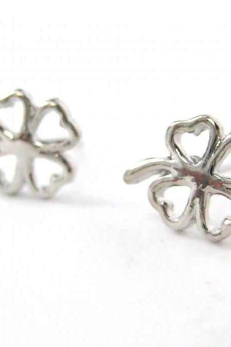 Lucky Four Leaf Clover Floral Cut Out Stud Earrings in Silver