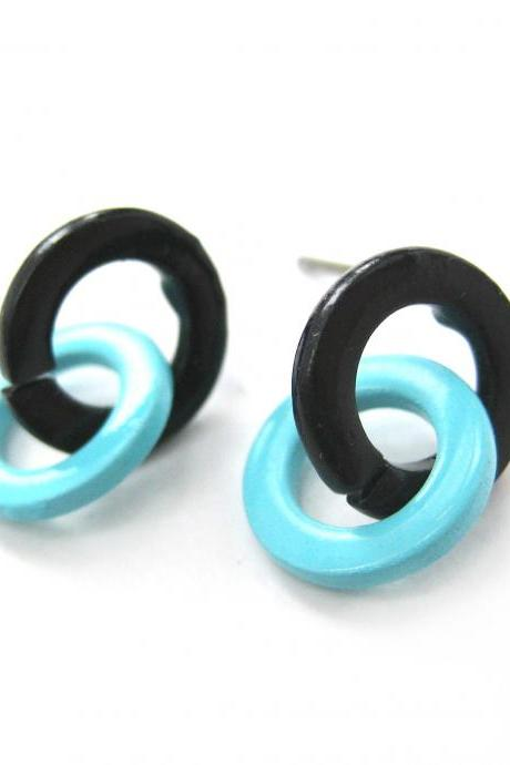 Retro Mod Hoop Linked Stud Earrings in Black and Mint Blue