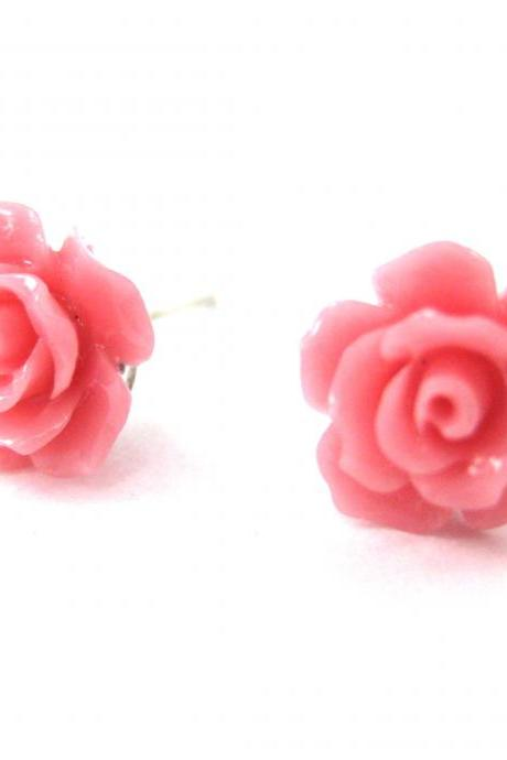 Small Floral Rose Resin Stud Earrings in Light Pink