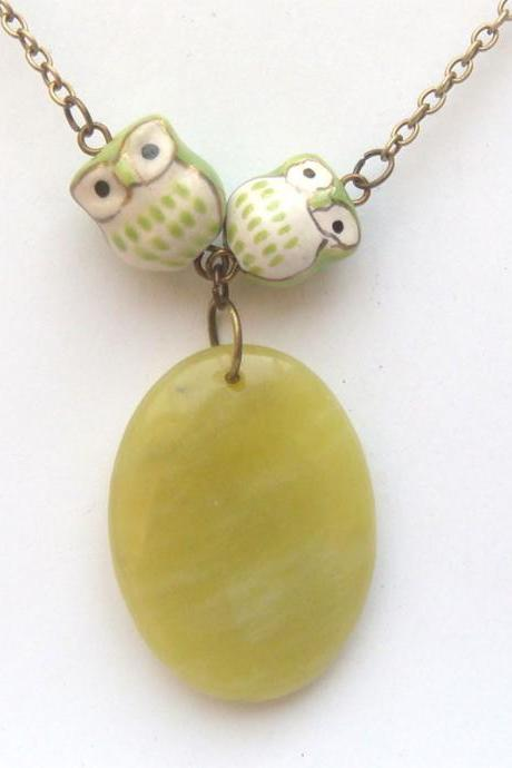 Antiqued Brass Lemon Jade Porcelain Owl Necklace