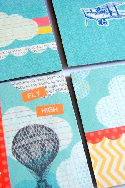 Fly High Hot Air Balloon Airplane and Clouds - Coaster Set - Small Paper Chipboard Decoupage Collage Drink Bar Tea Beverage Coffee