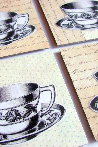 Victorian Teacups Tea Cups With Roses - Coaster Set - Small Paper Chipboard Decoupage Collage Drink Bar Tea Beverage Coffee
