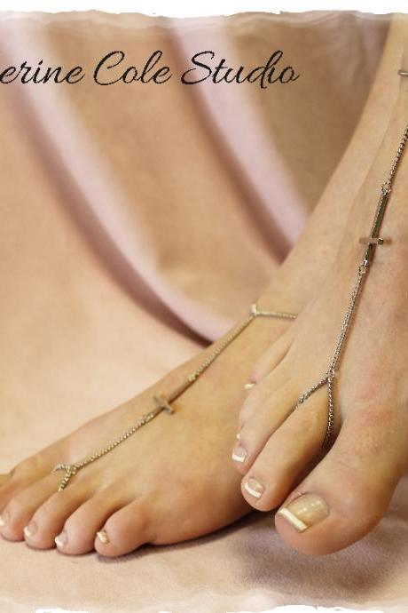 Silver Sideways Cross Barefoot sandals great for summer 1 pr. slave sandals beach christian foot jewelry Catherine Cole Studio BF10