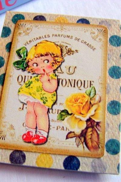 Parfum - Shy Little Girl In A Yellow Dress - Paper and Chipboard Collage Decoupage Pin Brooch Badge - Retro Vintage