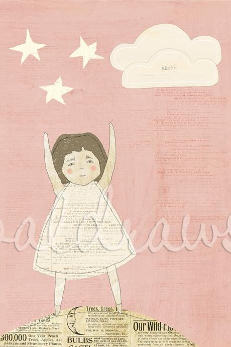 Girl on pink background reaching for stars Reach for the Stars 8x10 print