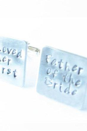 Square Wedding Father of the Bride Cufflinks Hand Stamped Wedding Men Cuff Links Personalized engraved Keepsake Gift
