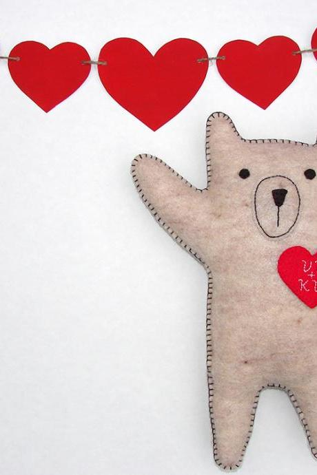 Personalized Valentine bear Embroidered heart with your initials